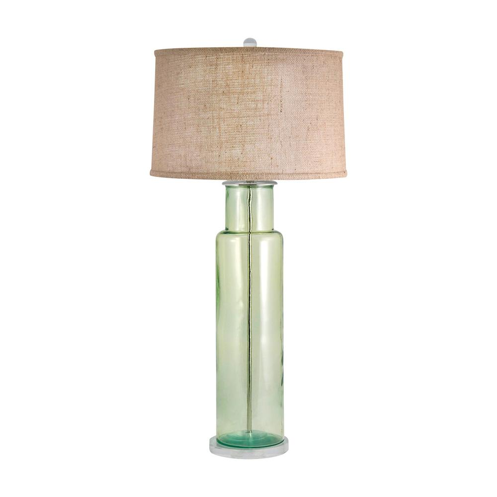 Recycled Glass Cylinder Table Lamp In Green. Picture 1