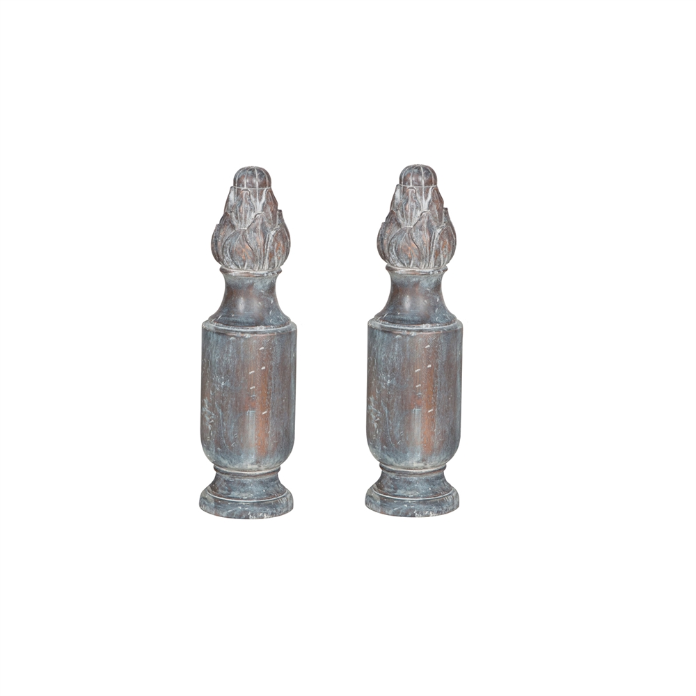 Sparta Finials In Distressed Grey Stain. Picture 1