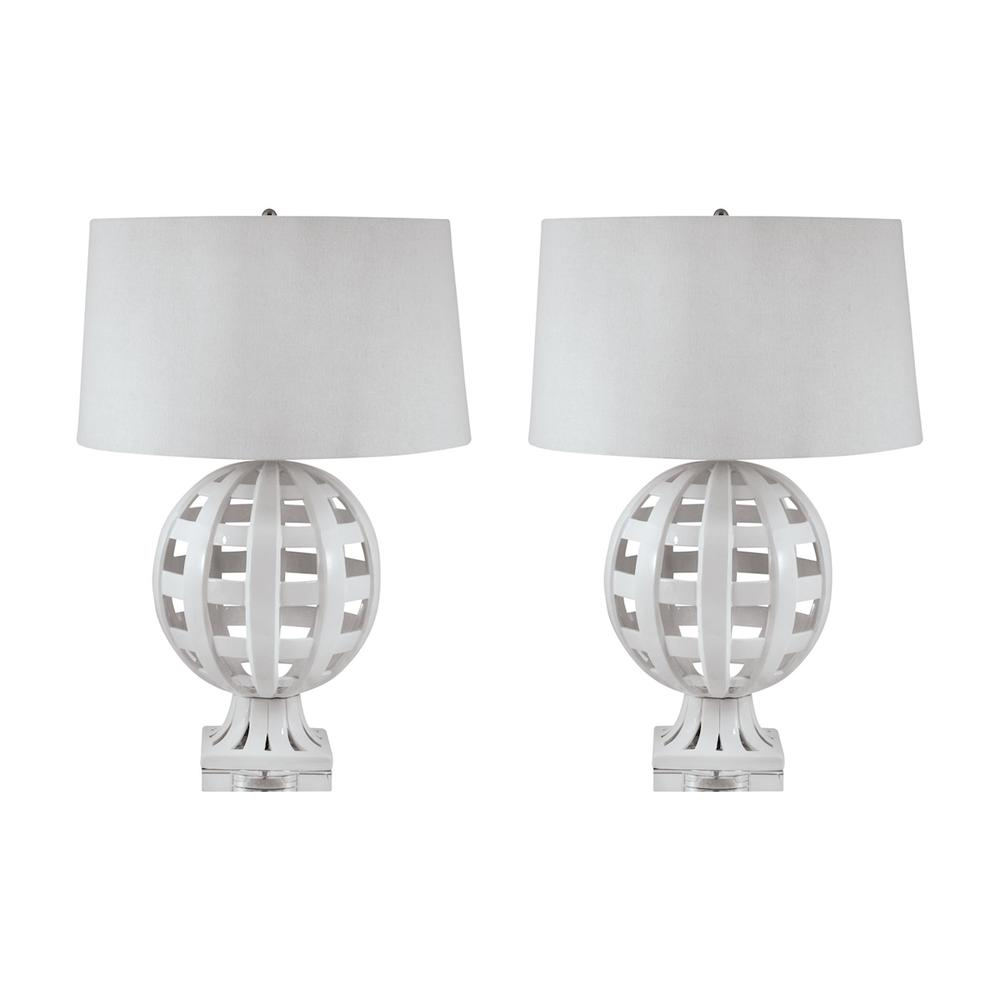 Open Work Ceramic Globe Table Lamp In White. Picture 1