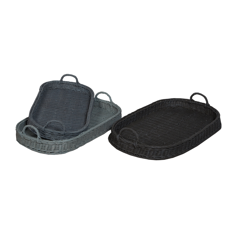 Oval Rattan Trays In Manor Slate And Misty Blue. Picture 1