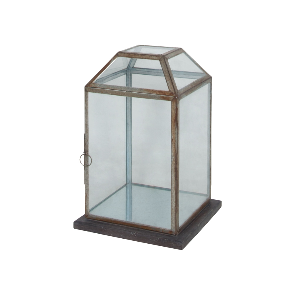 Display Lantern With Wood Base. Picture 1