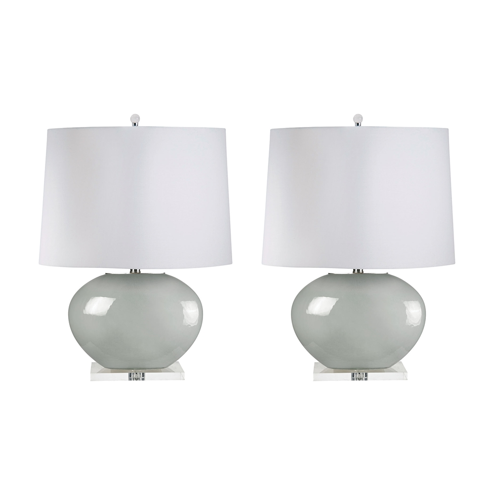 Blown Glass Oval Table Lamps In Grey - Set of 2. Picture 1