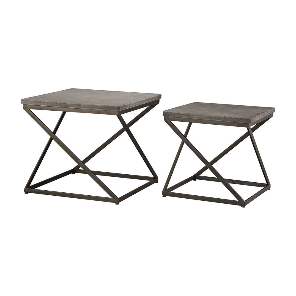 Moya Aged Iron Set of 2 Metal and Concrete Accent Tables. Picture 1