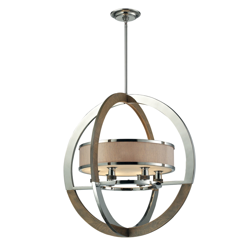 Crestwood 6 Light Pendant In Polished Nickel And Chestnut. Picture 1