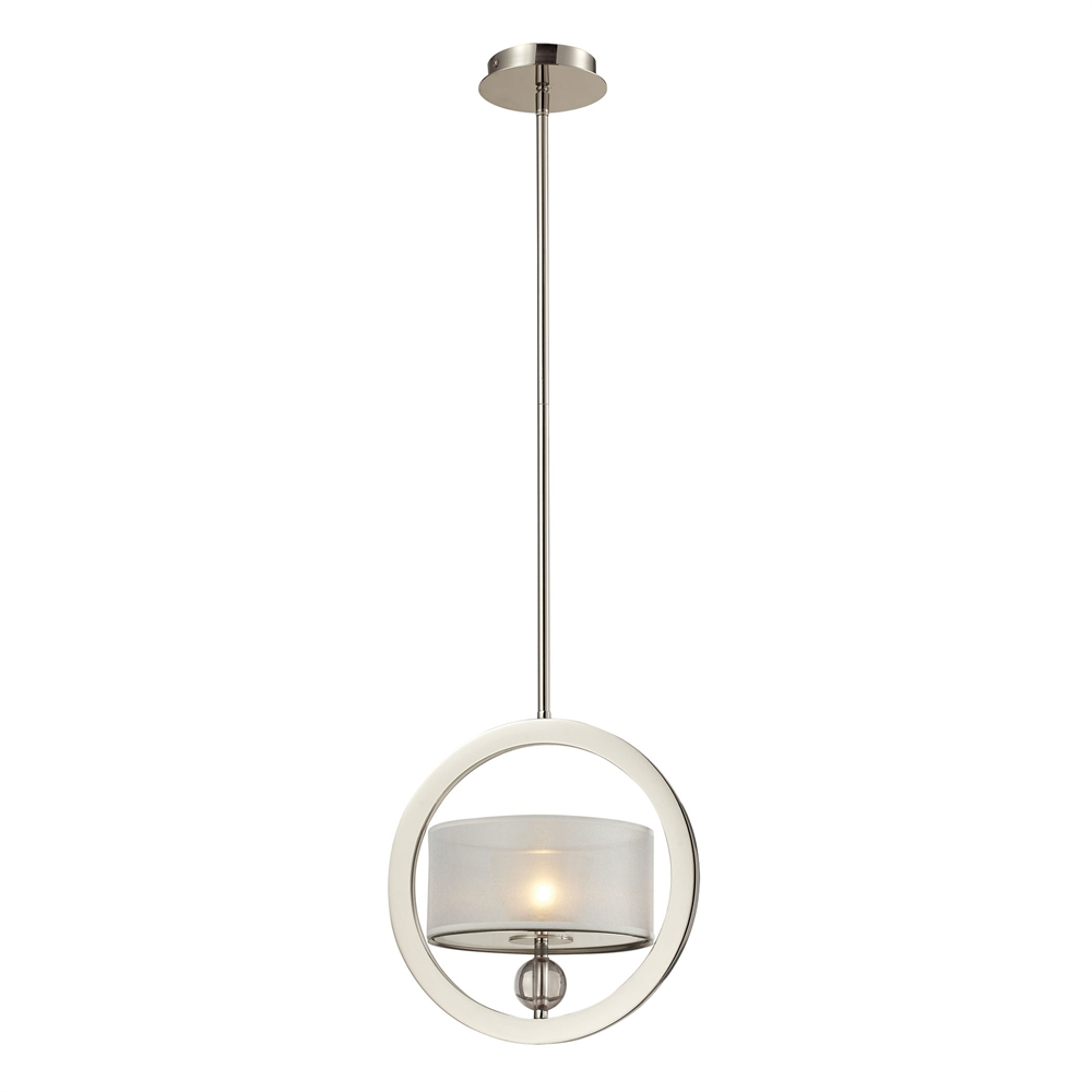Corisande 1 Light Pendant In Polished Nickel. Picture 1