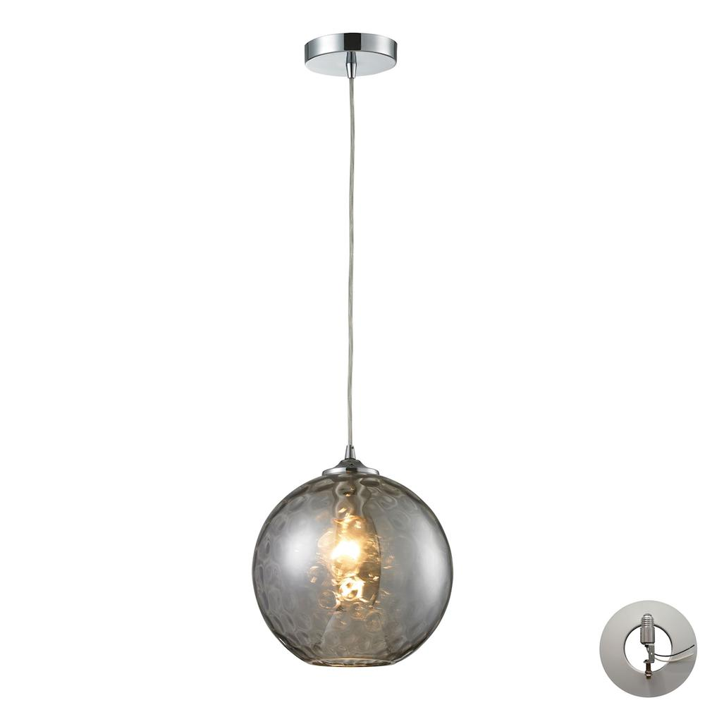 Watersphere 1 Light Pendant In Polished Chrome And Smoke Glass - Includes Recessed Lighting Kit. Picture 1