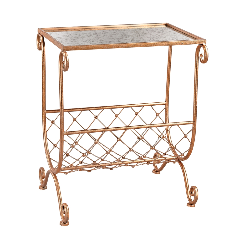 Copper Side Table with Magazine Rack. Picture 1