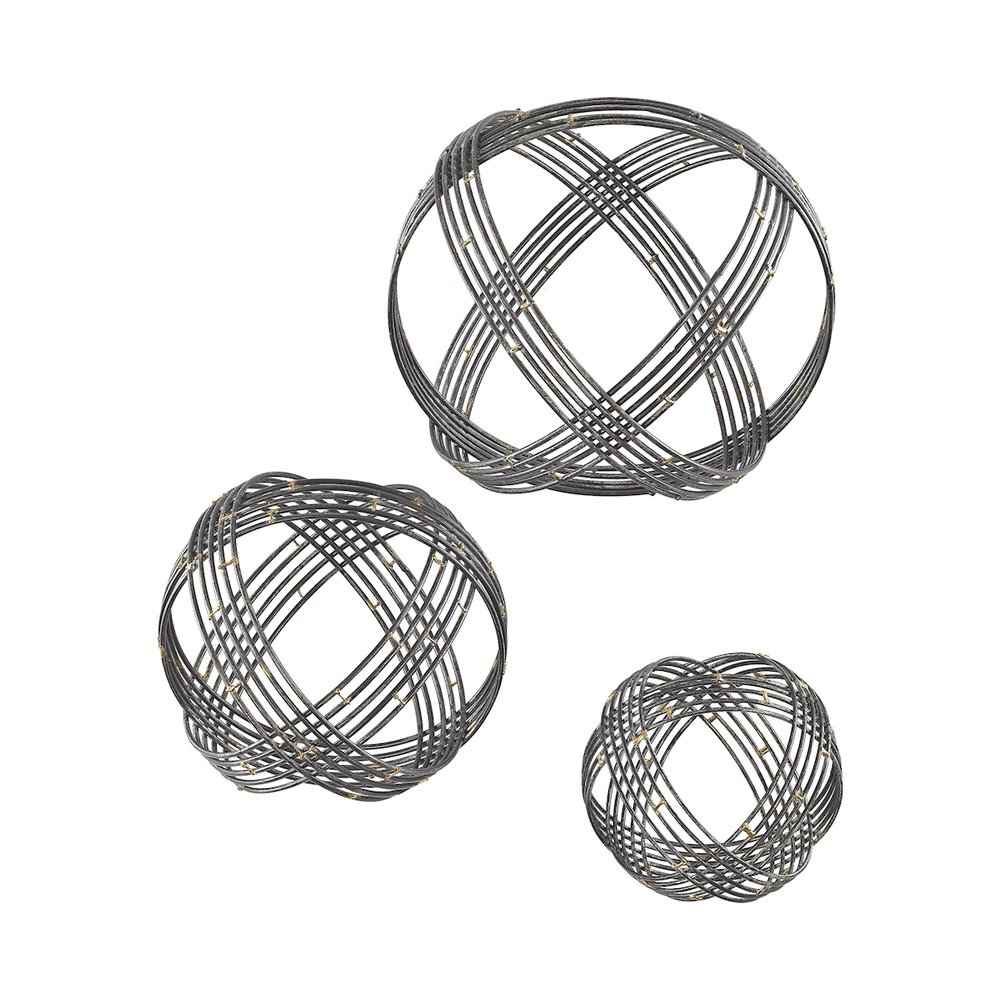 Warp Wall Decor In Soldered Raw Iron - Set of 3. Picture 1