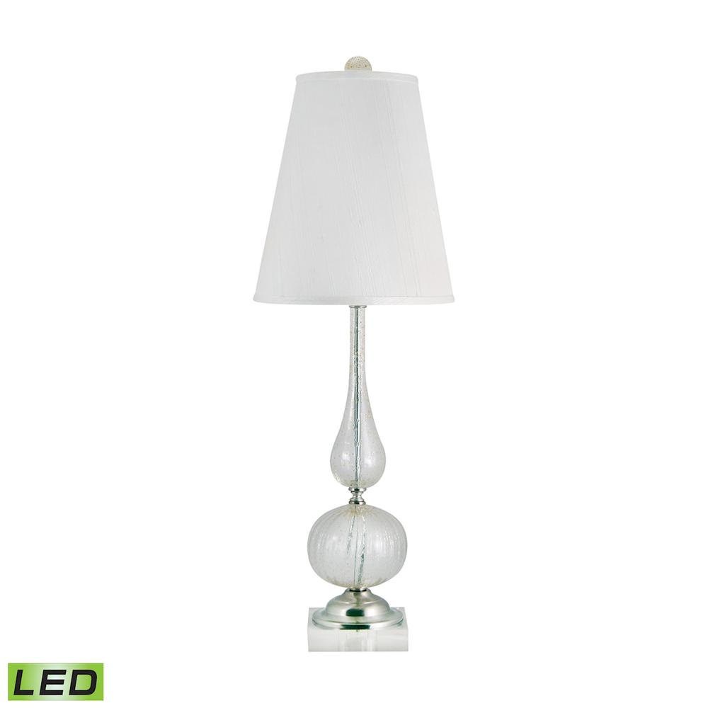 Serrated Venetian Glass LED Table Lamp In Clear And Gold. Picture 1
