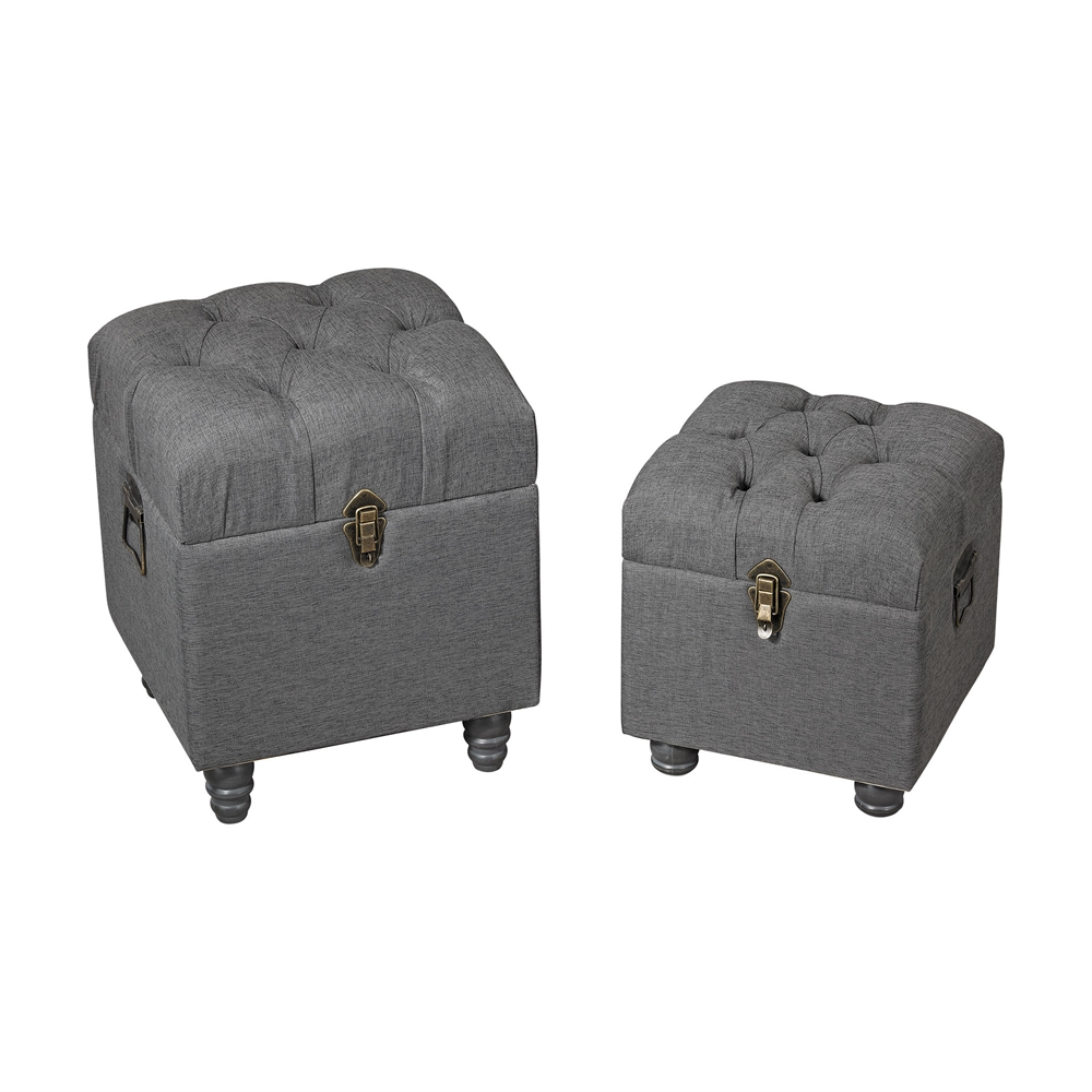 Grey Linen Storage Benches. Picture 1