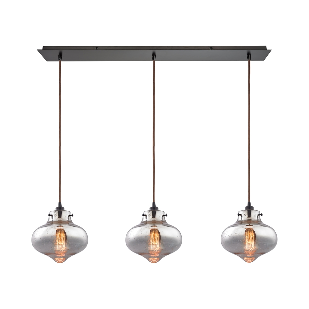 Kelsey 3 Light Pendant In Oil Rubbed Bronze And Mercury Glass, 31955 3LP. Picture 1