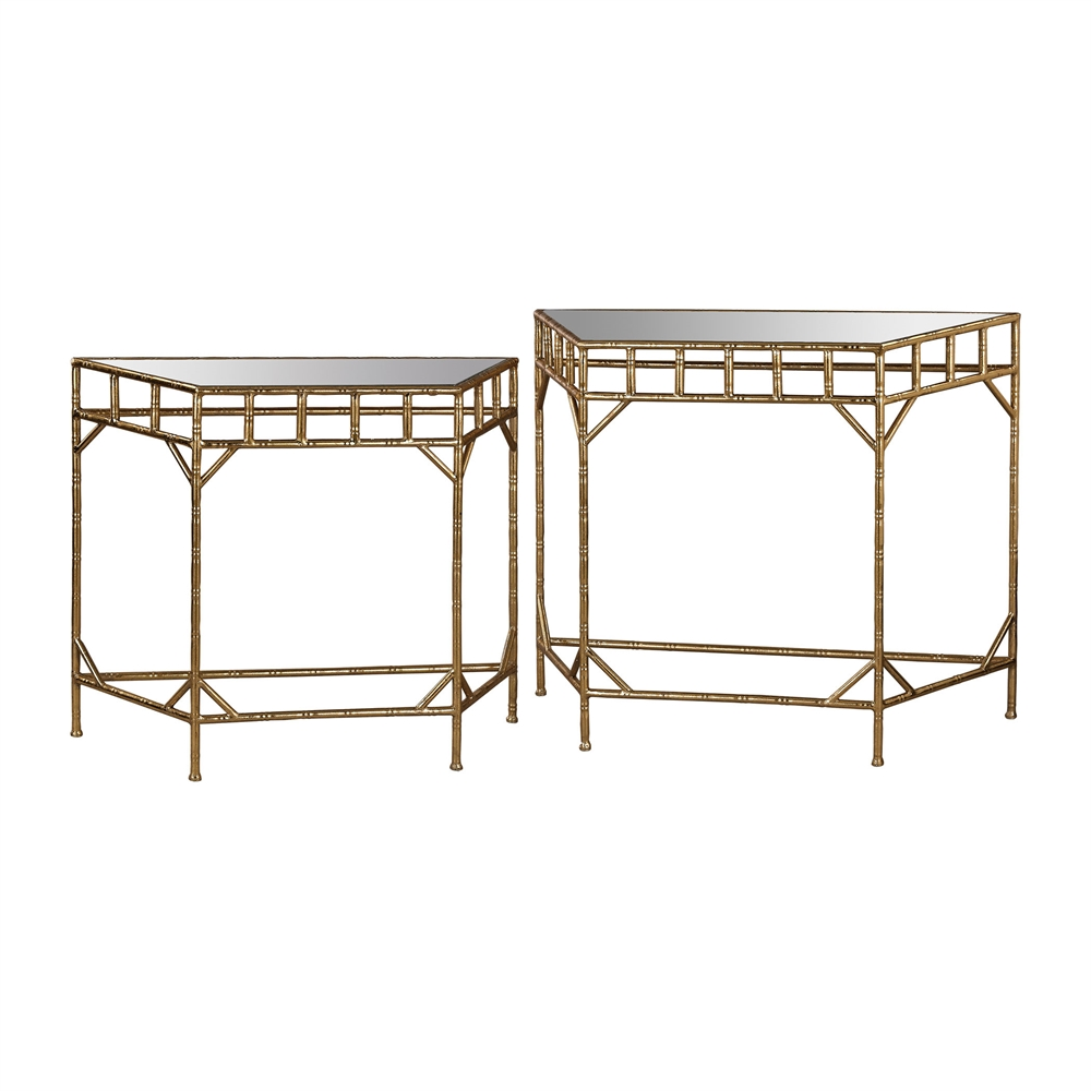 Gold Leaf and Antique Mirror Nested Tables. Picture 1