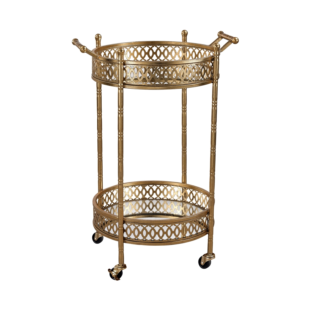 Banded Round Bar Cart. Picture 1