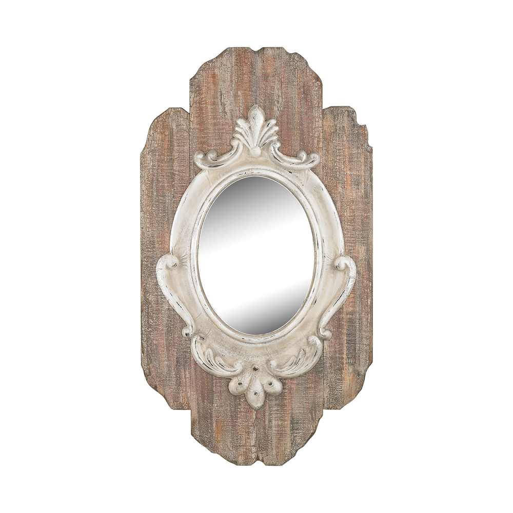 Villeneuve Wall Mirror In Weathered Wood Finish. Picture 1