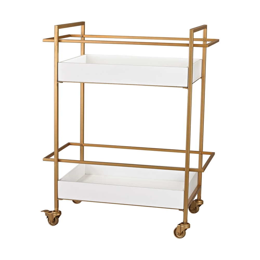 Gold and White Bar Cart. Picture 1