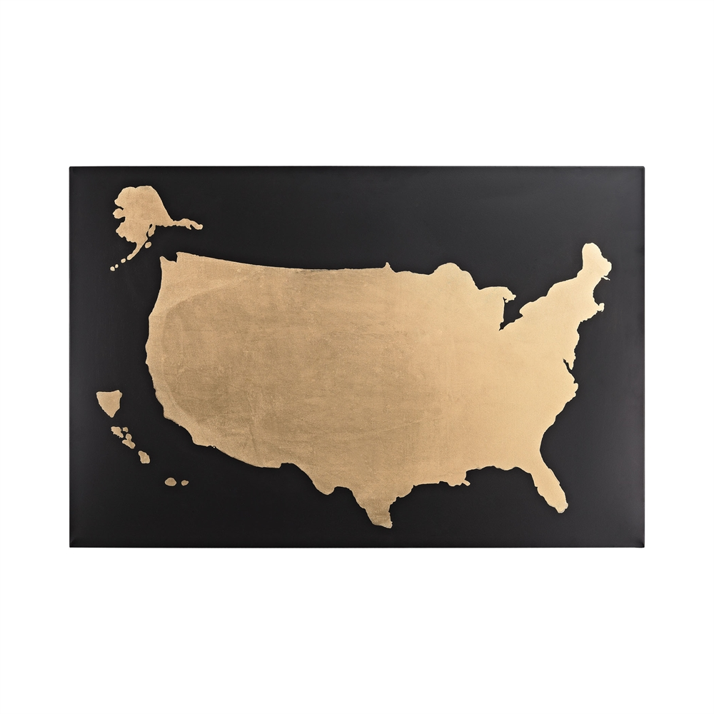 Metallic World Map on Black. Picture 1