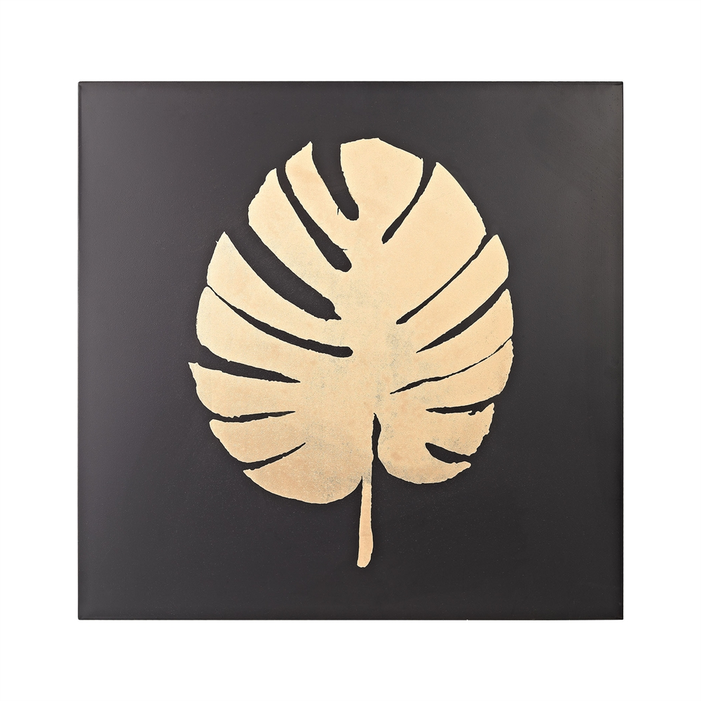 Metallic Palm Frond on Black. Picture 1