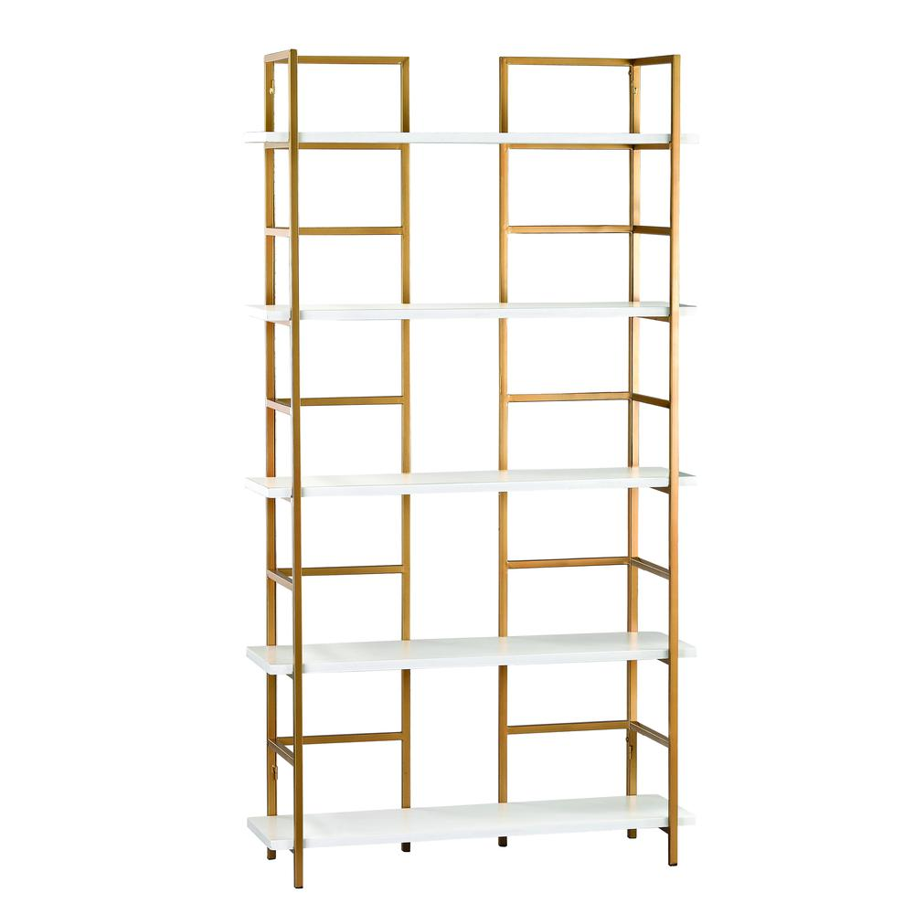 White and Gold Shelving Unit. Picture 1