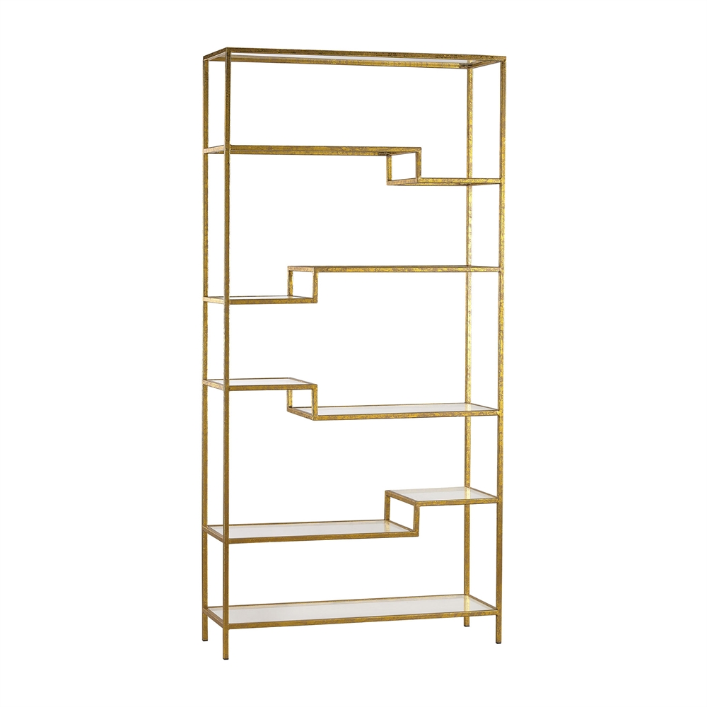 Gold and Mirrored Shelving Unit. Picture 1