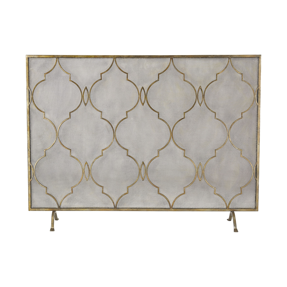 Agra Antique Gold 34-Inch Metal Fire Screen. Picture 1