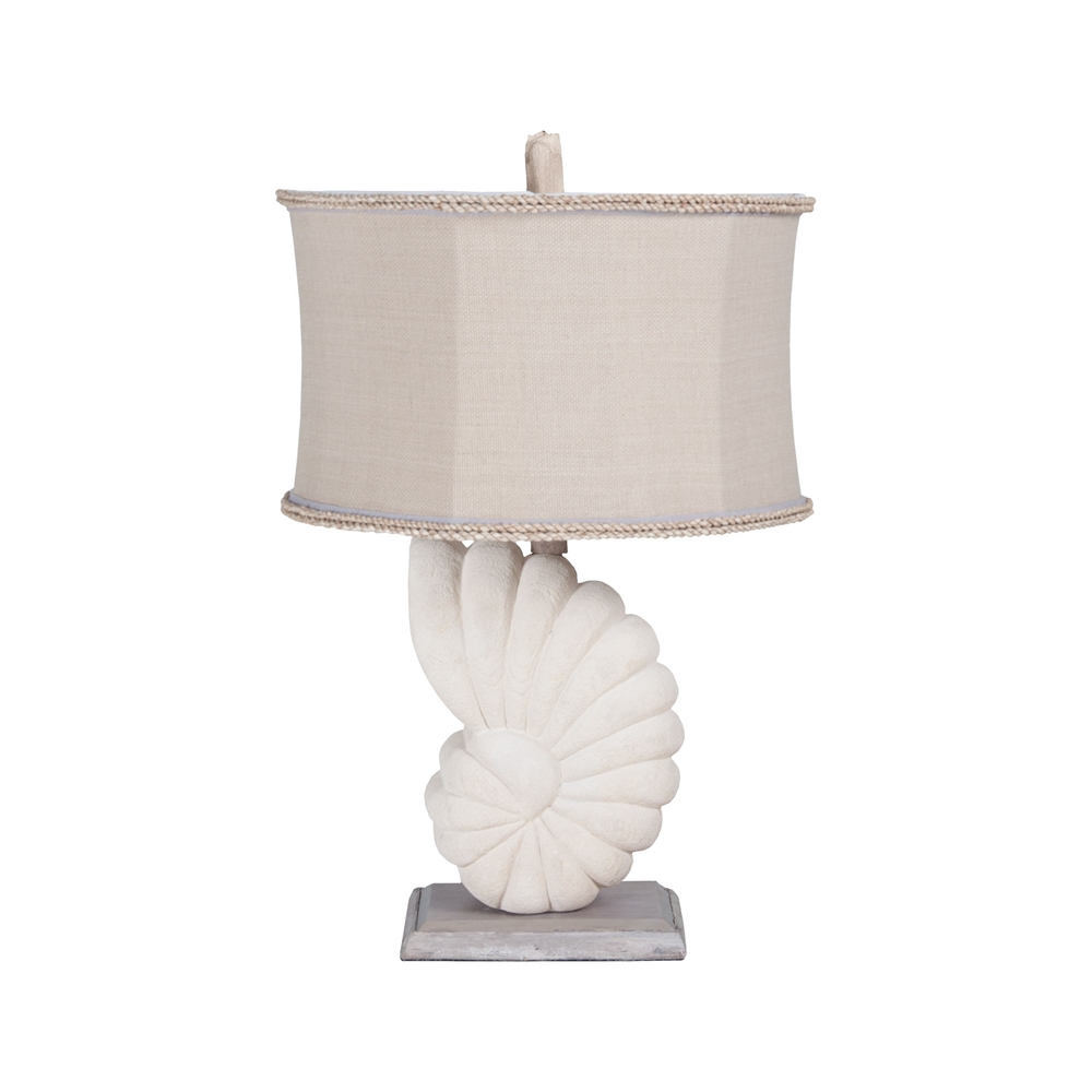 Stone Nautilus Table Lamp In Aged Silver. Picture 1