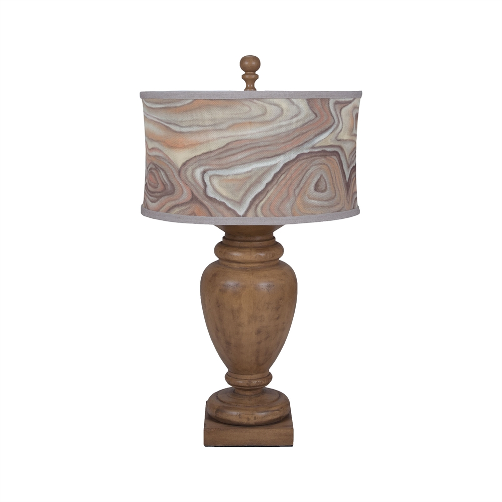 Turned Urn Table Lamp In Artisan Dark Stain. Picture 1
