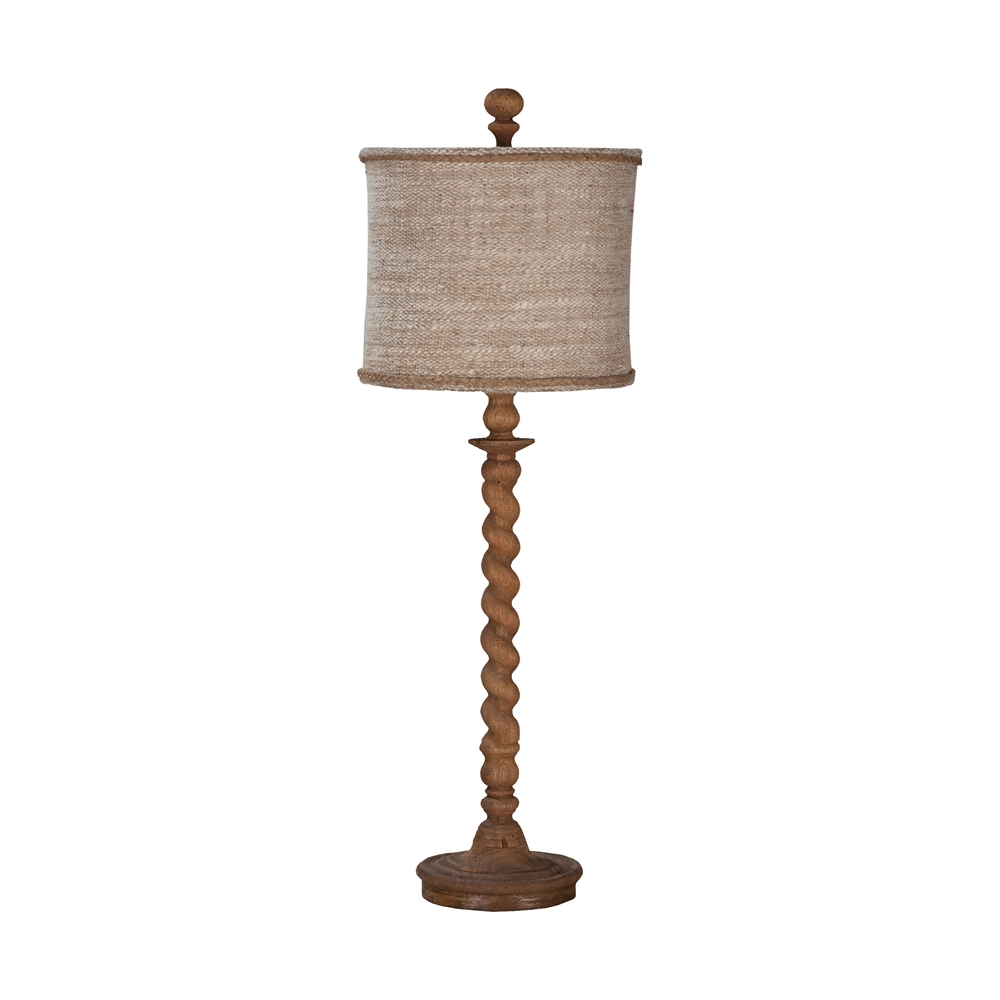 Barley Twist Spindle Table Lamp In Honey Oak Stain. Picture 1