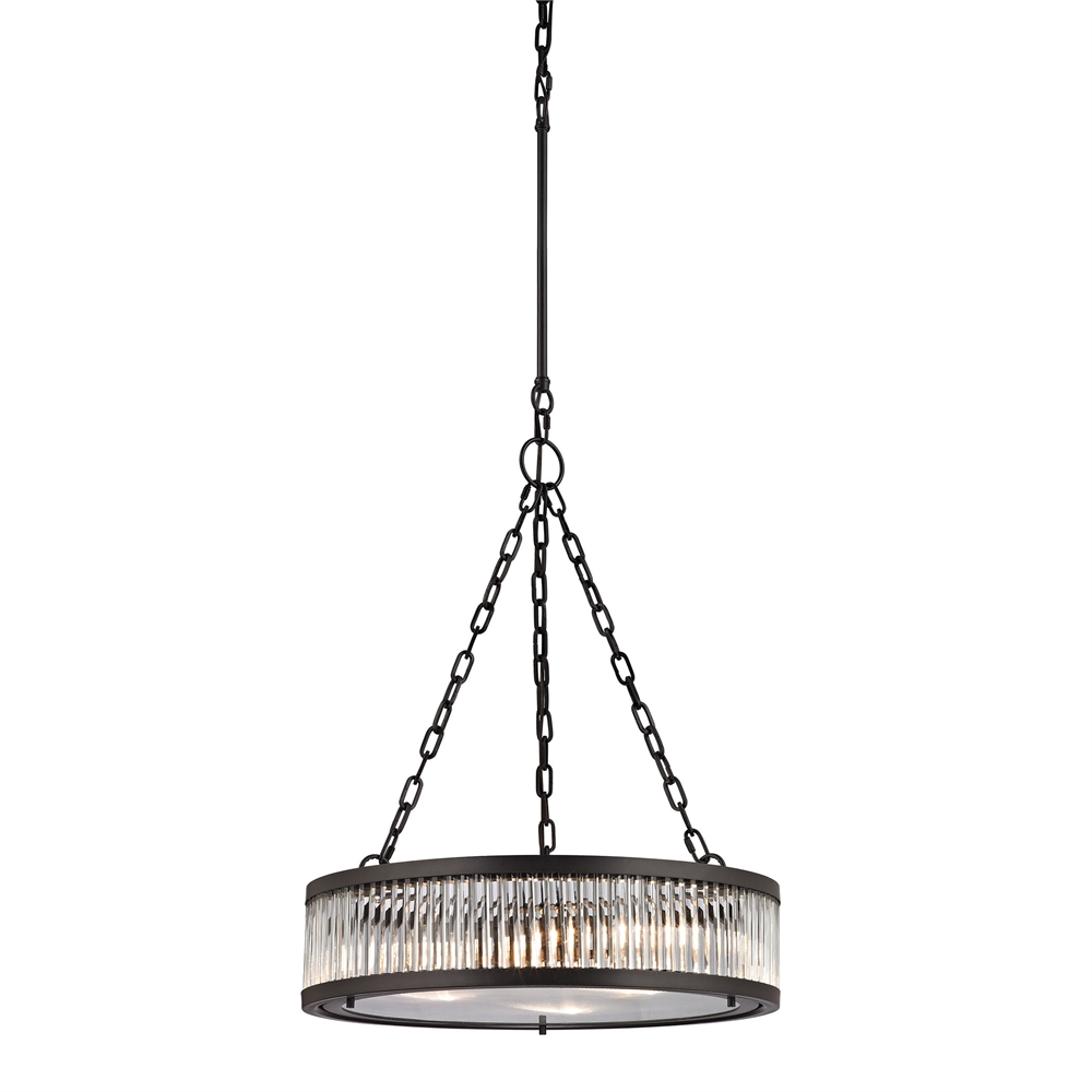 Linden Manor 3 Light Pendant In Crystal And Oil Rubbed Bronze. Picture 1