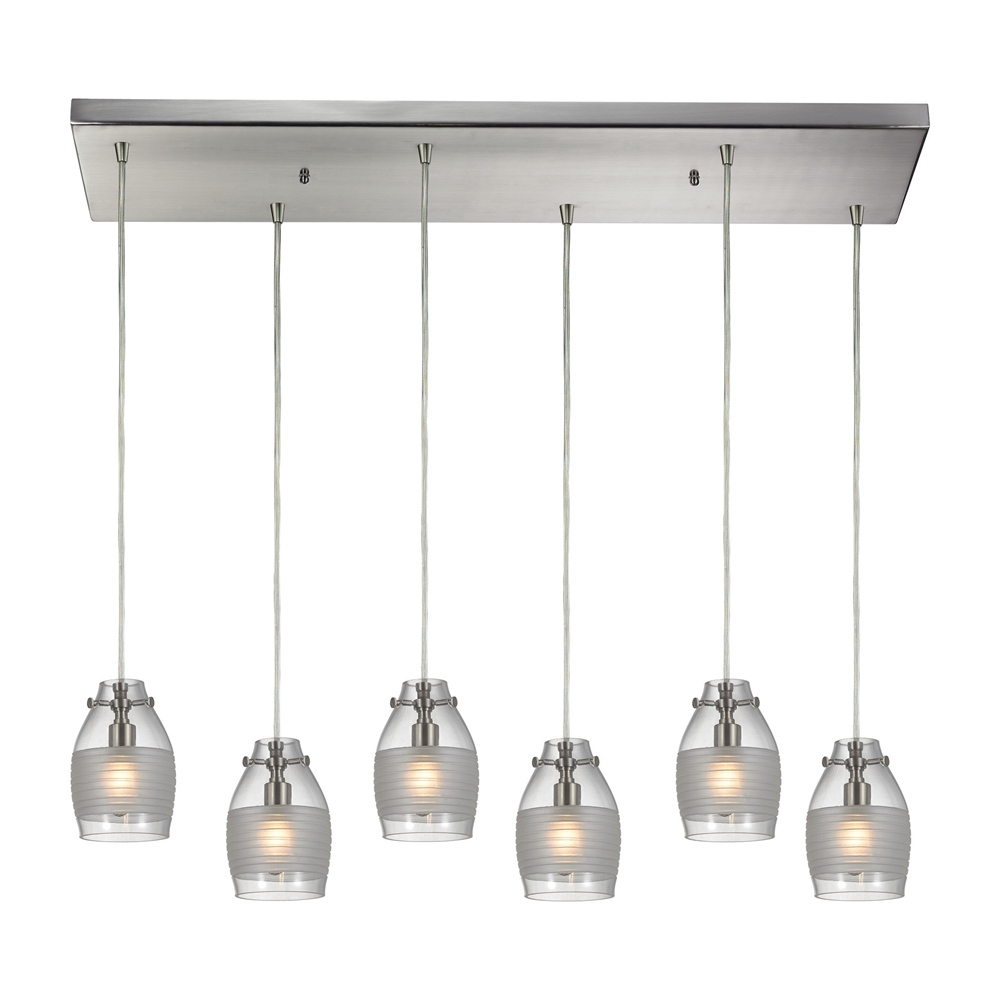 Carved Glass 6 Light Pendant In Brushed Nickel, 46161 6RC. Picture 1