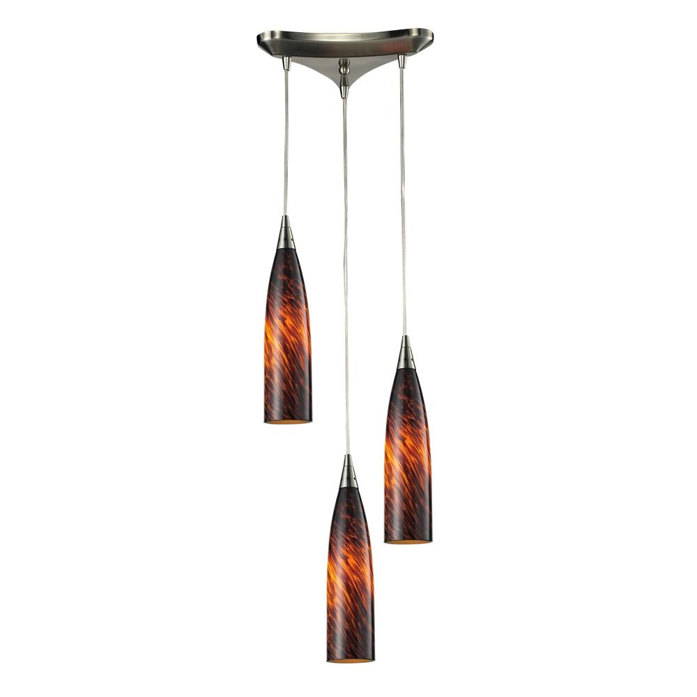 Lungo 3 Light Pendant In Satin Nickel And Espresso Glass, 501-3ES. Picture 1