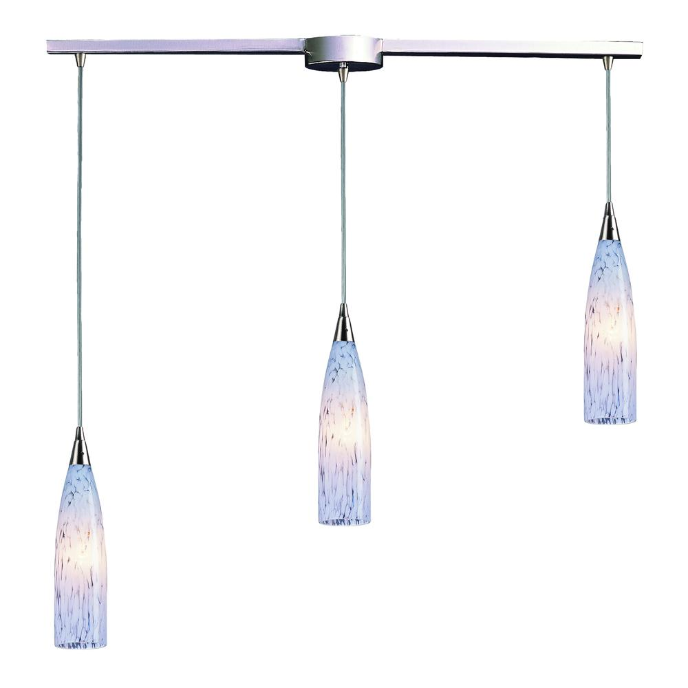 Lungo 3 Light Pendant In Satin Nickel And Snow White Glass, 501-3L-SW. Picture 1