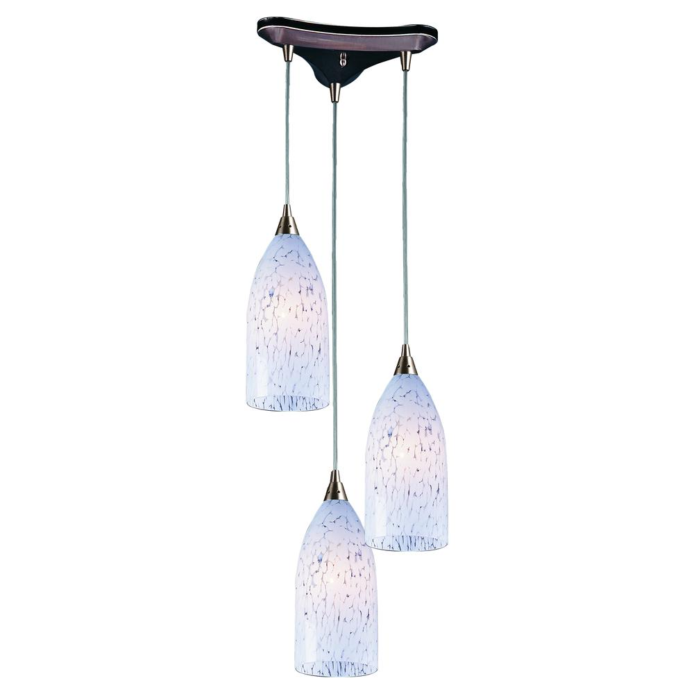 Verona 3 Light Pendant In Satin Nickel And Snow White Glass, 502-3SW. Picture 1