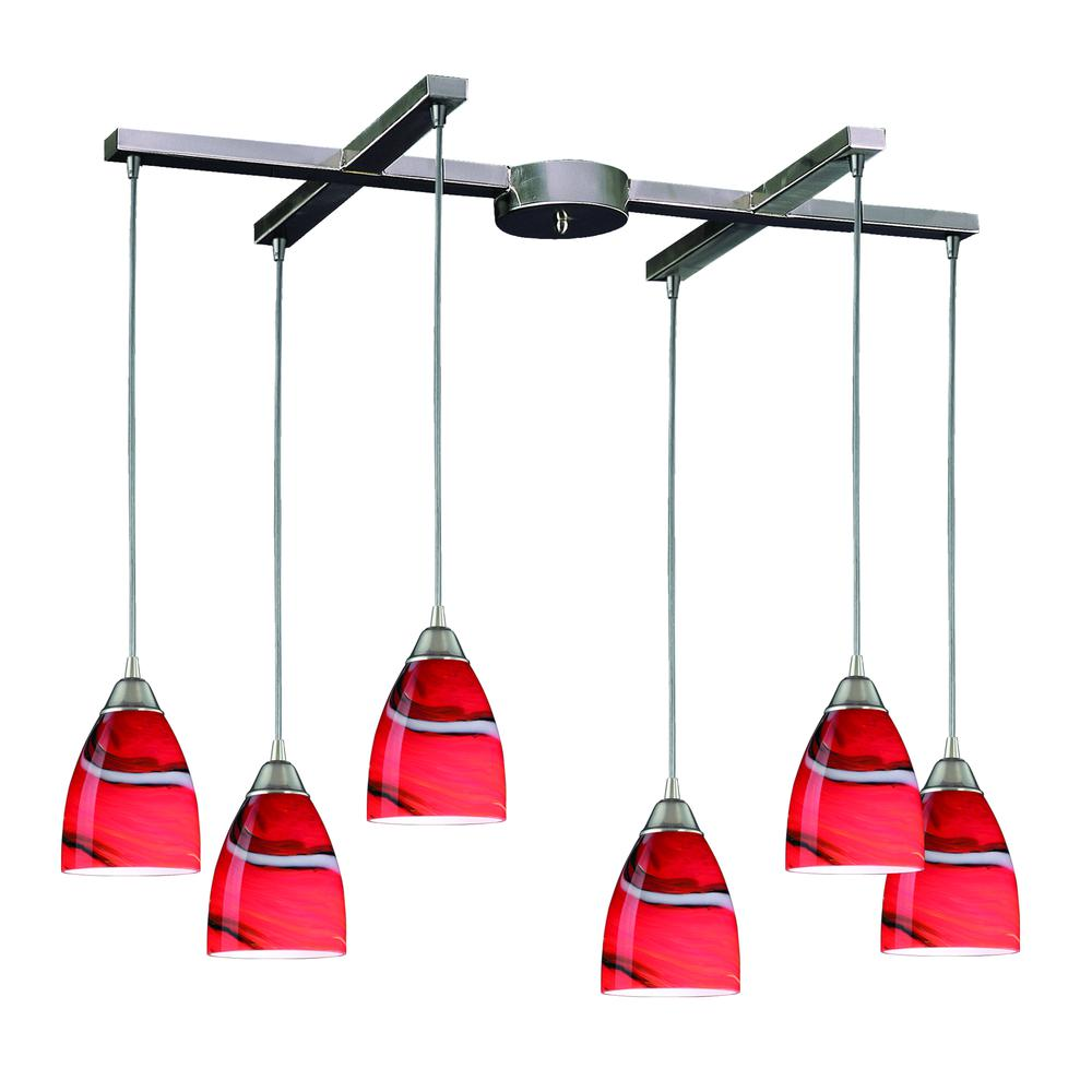 Pierra 6 Light Pendant In Satin Nickel And Candy Glass, 527-6CY. Picture 1