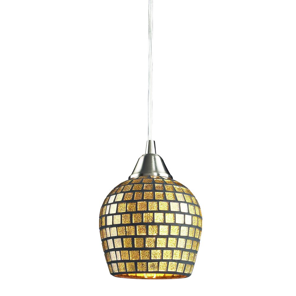 Fusion 1 Light LED Pendant In Satin Nickel And Gold Leaf Glass. Picture 1
