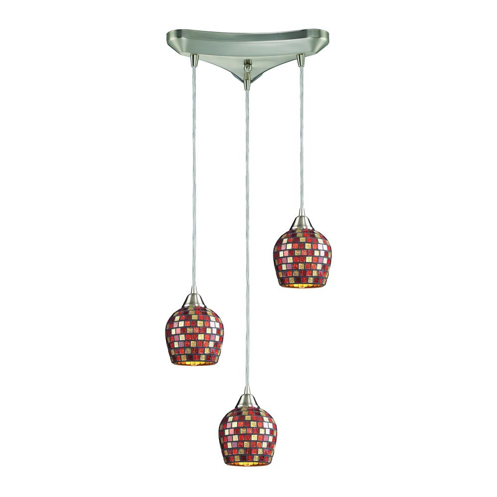 Fusion 3 Light Pendant In Satin Nickel And Multi Glass, 528-3MLT. Picture 1