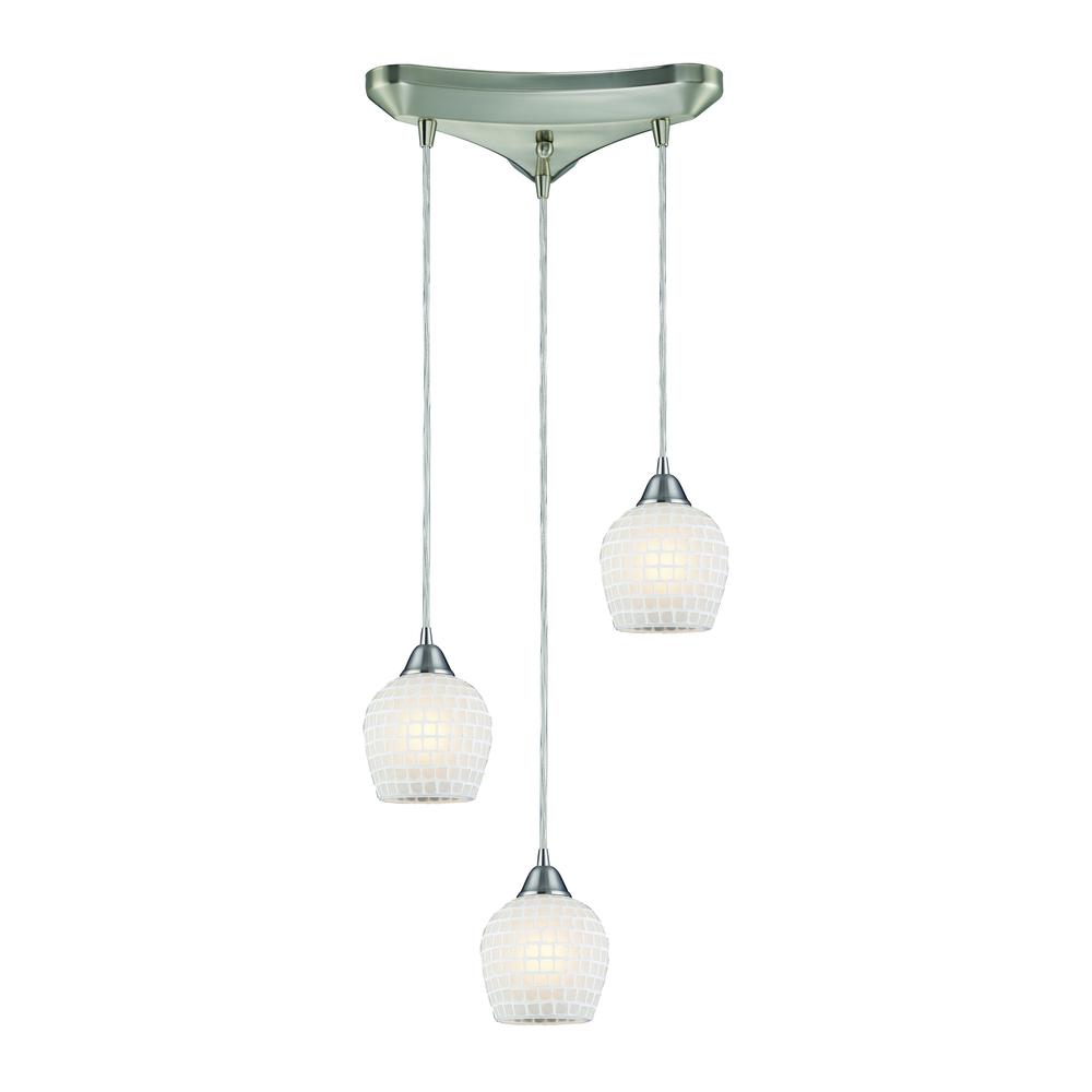 Fusion 3 Light Pendant In Satin Nickel And White Glass, 528-3WHT. Picture 1