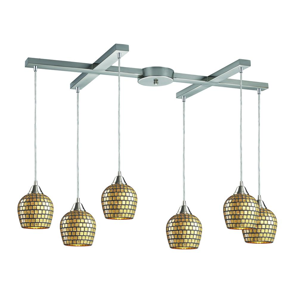 Fusion 6 Light Pendant In Satin Nickel And Gold Leaf Glass, 528-6GLD. Picture 1