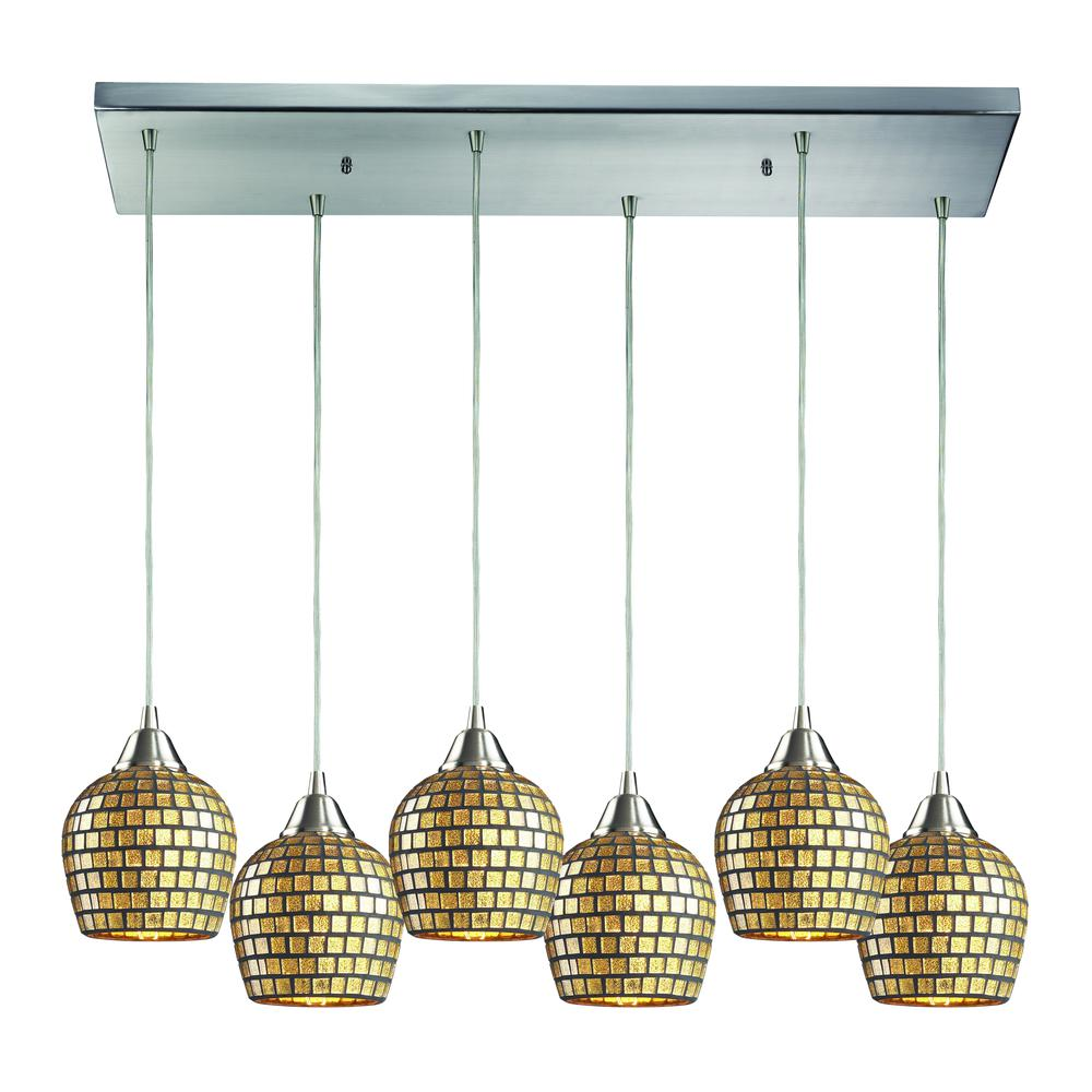 Fusion 6 Light Pendant In Satin Nickel And Gold Leaf Glass, 528-6RC-GLD. Picture 1