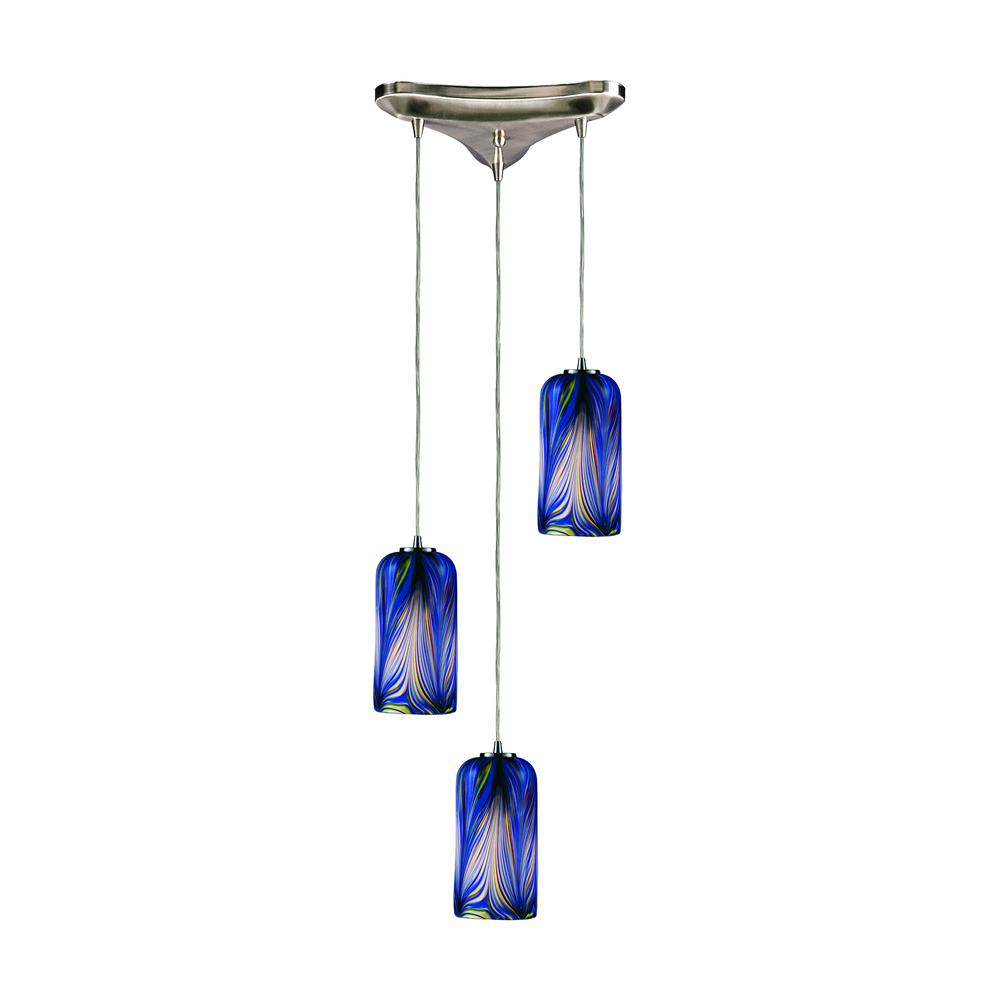 Molten 3 Light Pendant In Satin Nickel And Molten Ocean Glass, 544-3MO. Picture 1