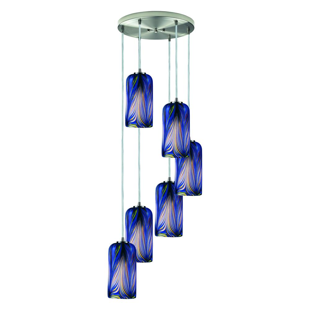 Molten 6 Light Pendant In Satin Nickel And Molten Ocean Glass, 544-6R-MO. Picture 1