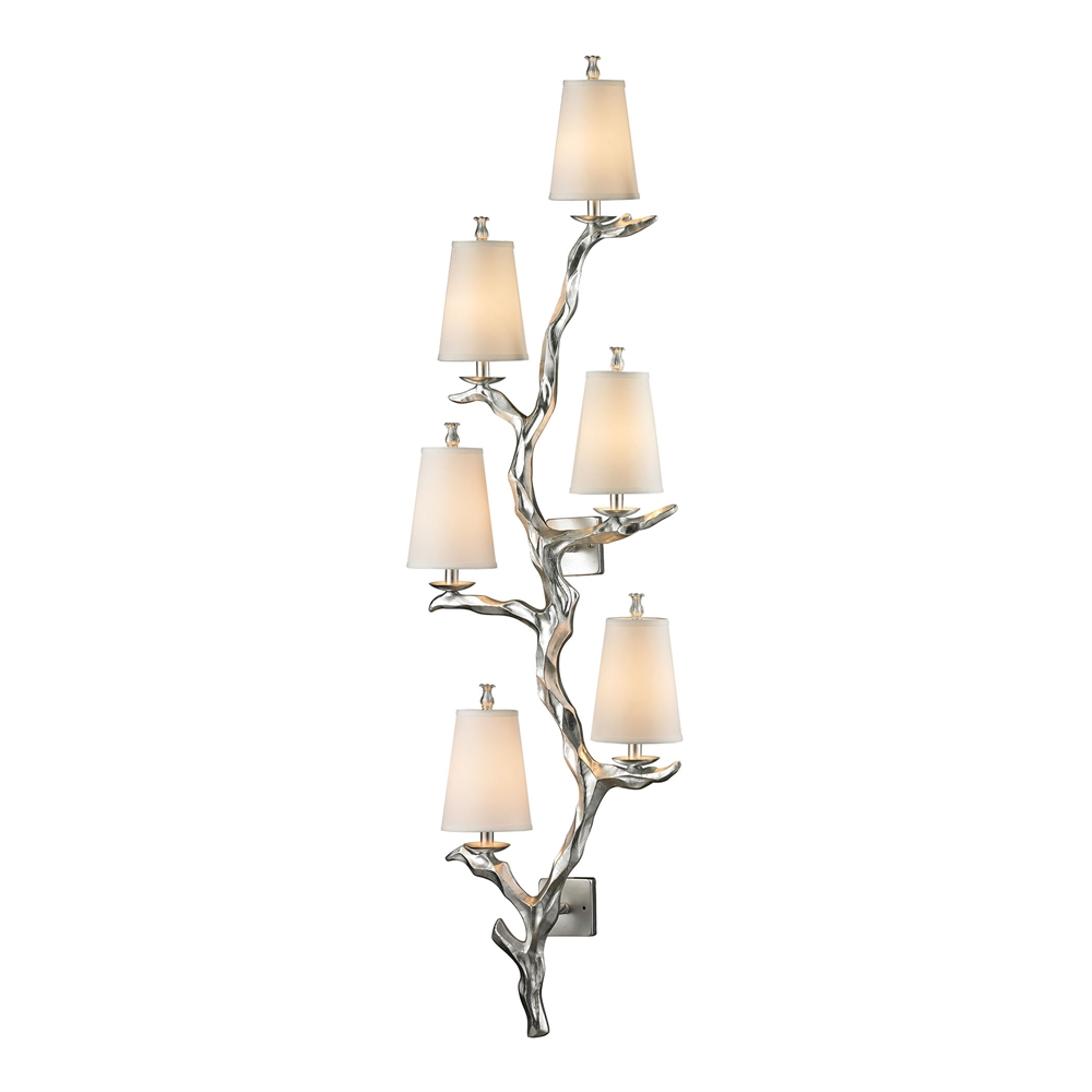 Sprig 6 Light Wall Sconce In Silver Leaf. Picture 1