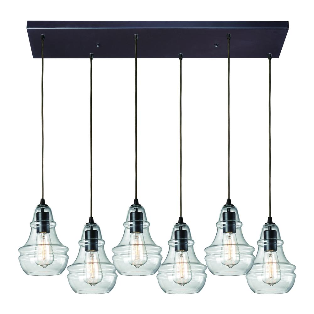 Menlow Park 6 Light Pendant In Oil Rubbed Bronze, 60047-6RC. Picture 1