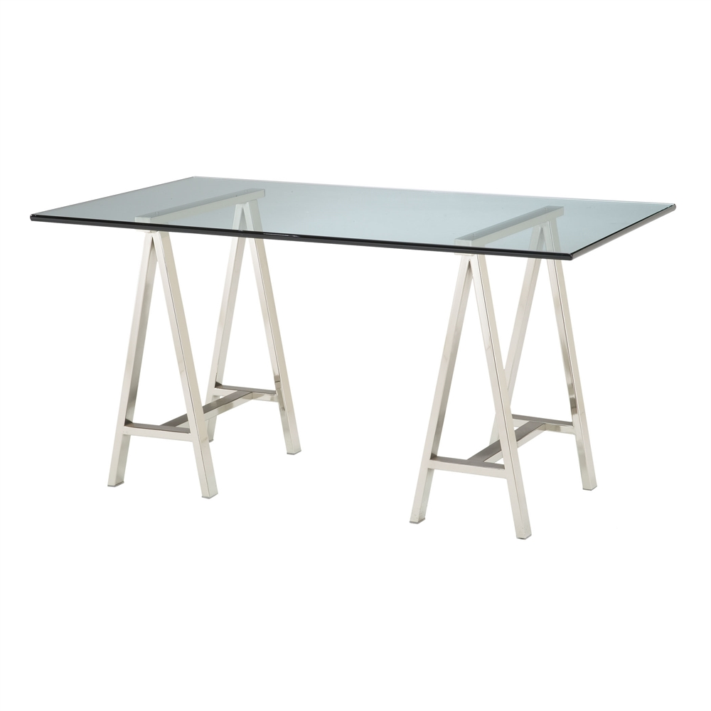 Rectangular Glass Top Table. Picture 1