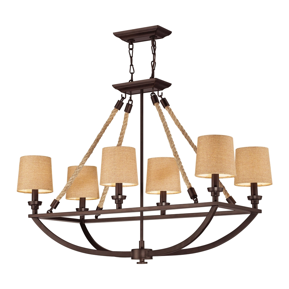 Natural Rope 6 Light Chandelier In Aged Bronze. Picture 1