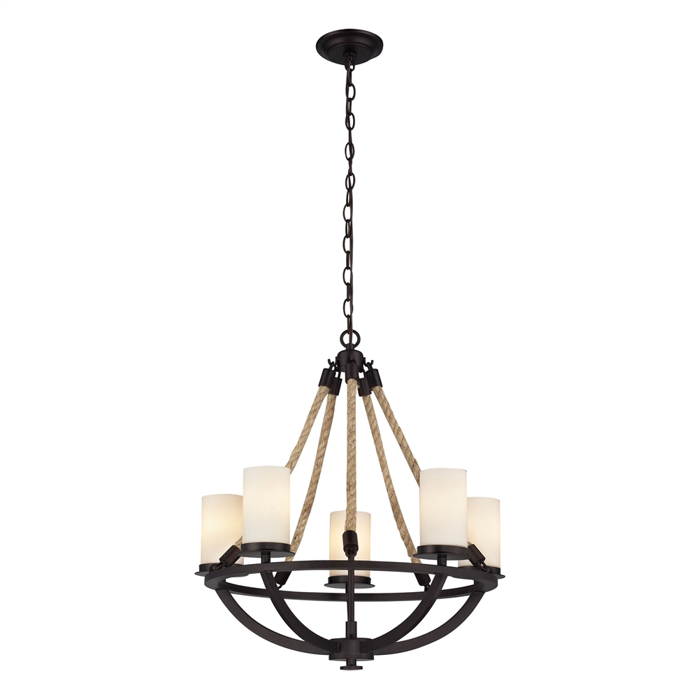 Natural Rope 5 Light Chandelier In Aged Bronze And White Glass. Picture 1