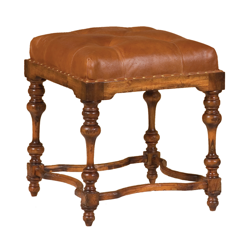 Leather Ottoman. Picture 1