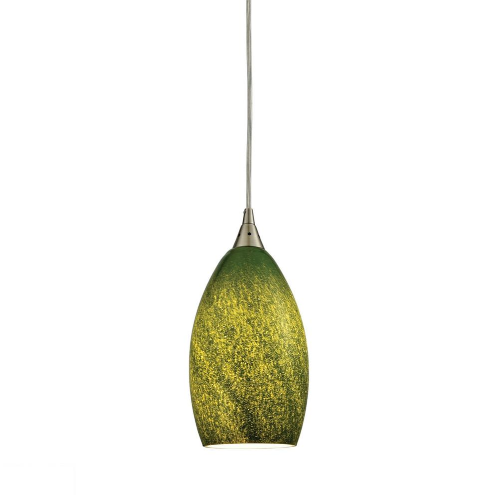 Earth 1 Light LED Pendant In Satin Nickel And Grass Green Glass. Picture 1