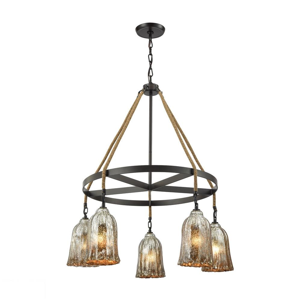 Hand Formed Glass 5 Light LED Chandelier In Oil Rubbed Bronze. Picture 1