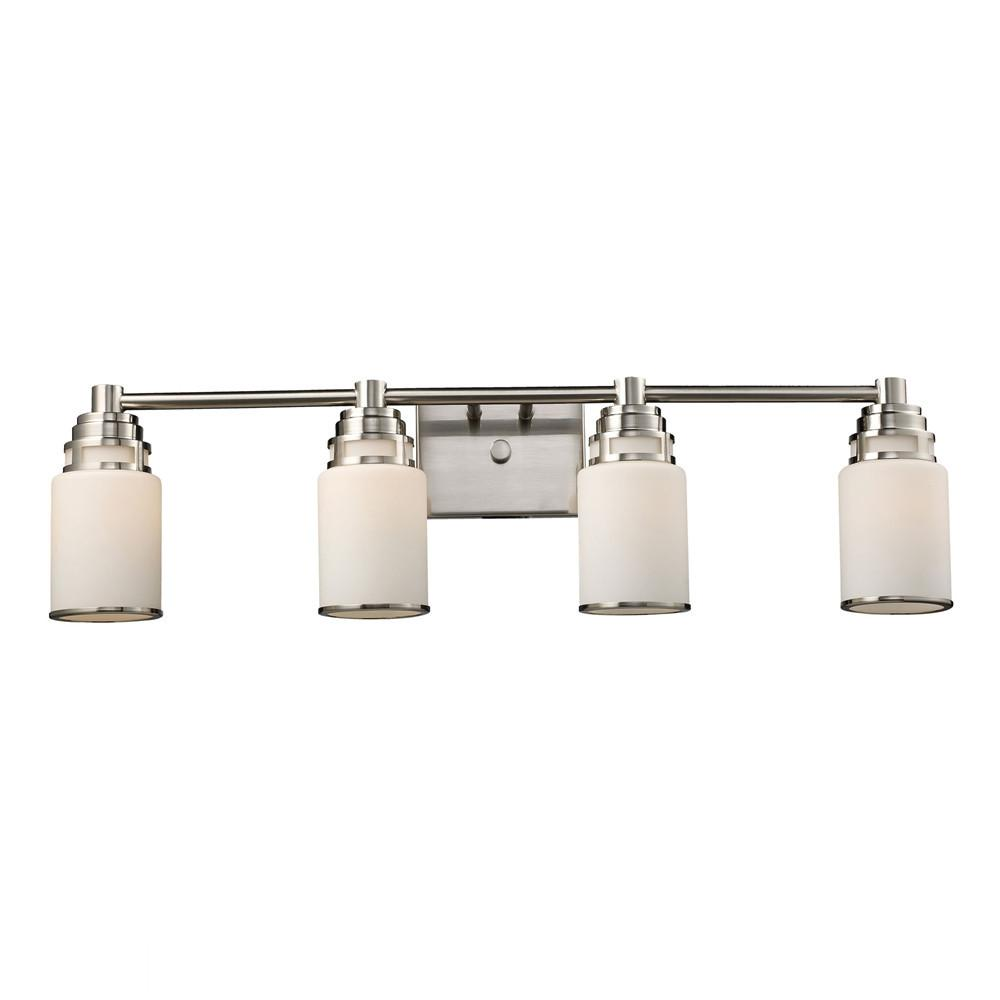 Bryant 4 Light LED Vanity In Satin Nickel And Opal White Glass. Picture 1
