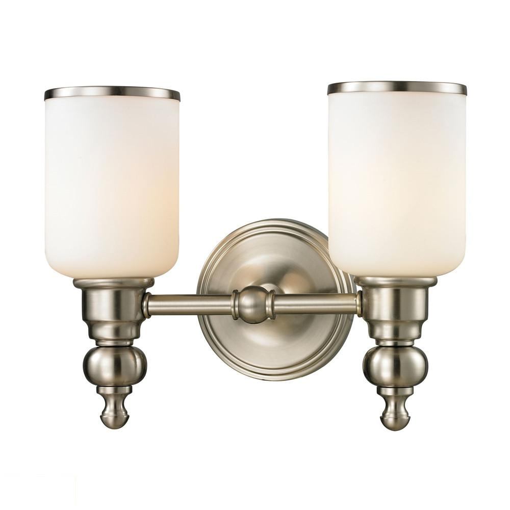 Bristol Way 2 Light LED Vanity In Brushed Nickel And Opal White Glass. Picture 1